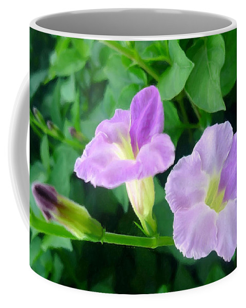 Chinese Violet Coffee Mug featuring the painting Chinese Violet 1 by Jeelan Clark