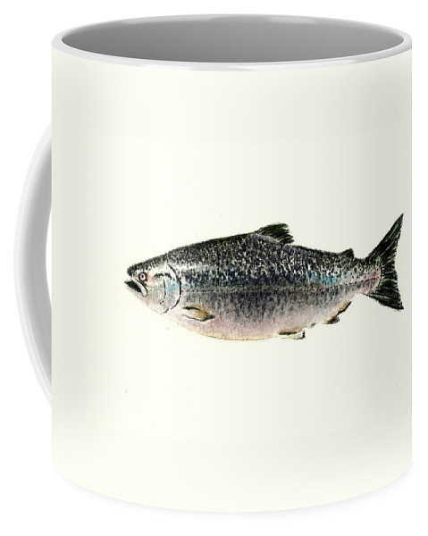 Fish Coffee Mug featuring the painting Chinook Salmon by Michael Vigliotti