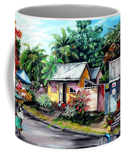 Landscape Painting Caribbean Painting Shop Trinidad Tobago Poinciana Painting Market Caribbean Market Painting Tropical Painting Coffee Mug featuring the painting Chins Parlour   by Karin Dawn Kelshall- Best