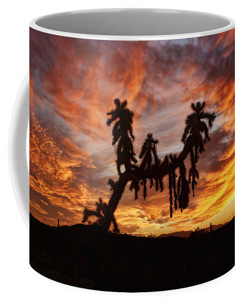 Arizona Coffee Mug featuring the photograph Cholla In Flame by Ryan Seek