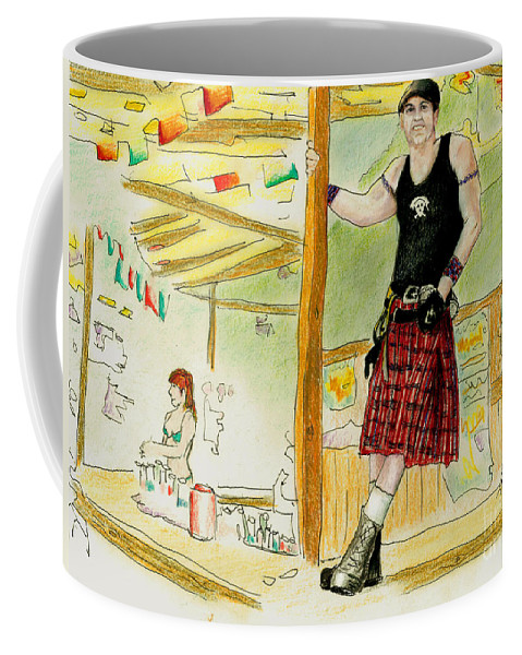 Kilt Coffee Mug featuring the painting Chris At The Broken Spoke Saloon by Albert Puskaric