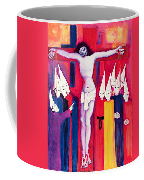 Cross Coffee Mug featuring the painting Christ And The Politicians by Laila Shawa