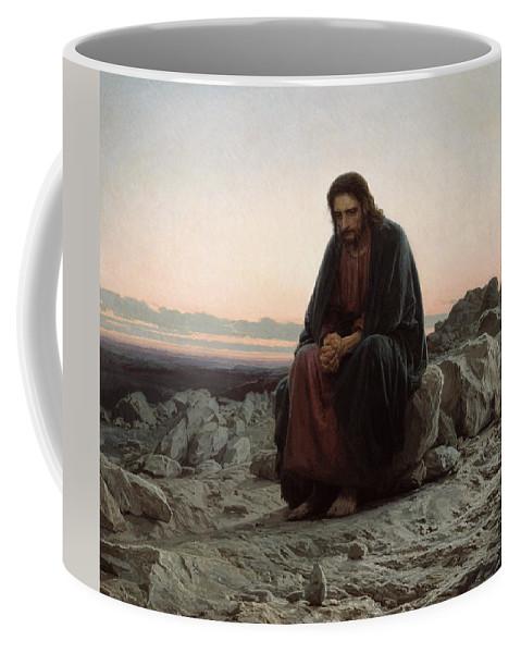 Ivan Nikolaevich Kramskoi Coffee Mug featuring the painting Christ In The Wilderness by Ivan Nikolaevich Kramskoi