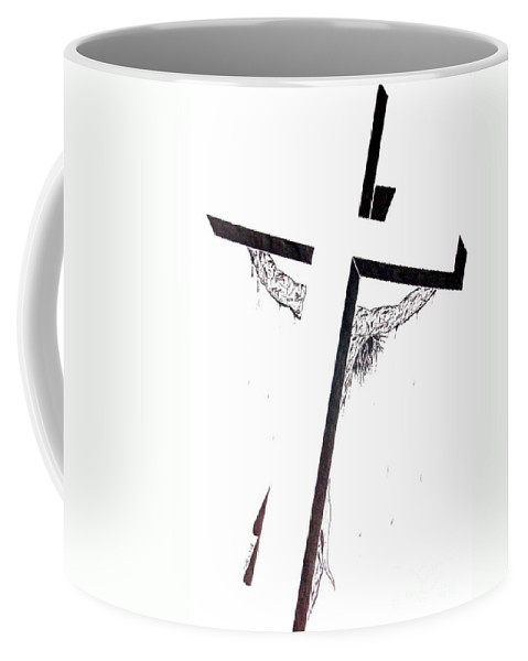 Christ Coffee Mug featuring the drawing Christ On Cross by Justin Moore