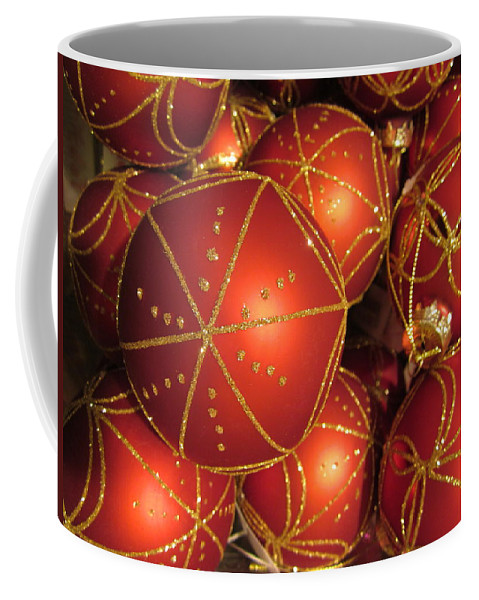 Christmas Card Coffee Mug featuring the photograph Christmas Balls In Red And Gold by Rosita Larsson