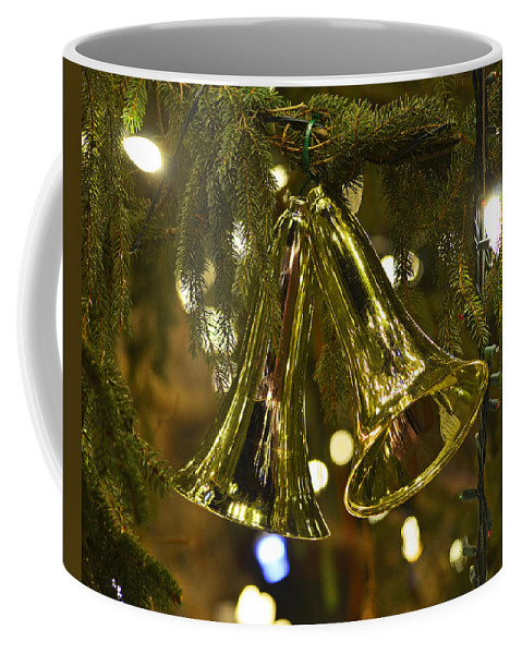 Boston Coffee Mug featuring the photograph Christmas Bells Ornaments Faneuil Hall Tree Boston by Toby McGuire