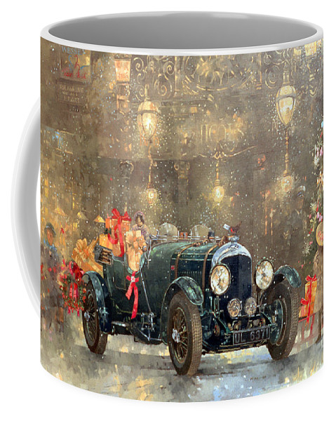 Motor Car Coffee Mug featuring the painting Christmas Bentley by Peter Miller