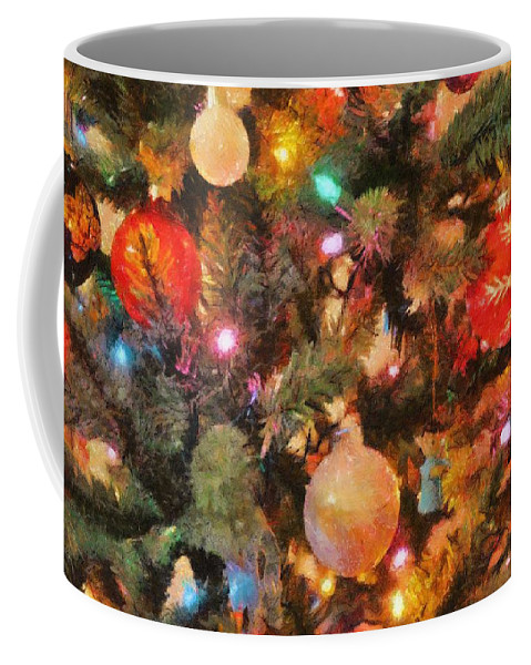 Angel Coffee Mug featuring the painting Christmas Branches by Jeffrey Kolker