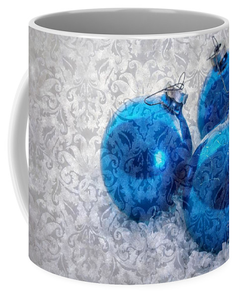 Tree Coffee Mug featuring the photograph Christmas Card With Vintage Blue Ornaments by Edward Fielding