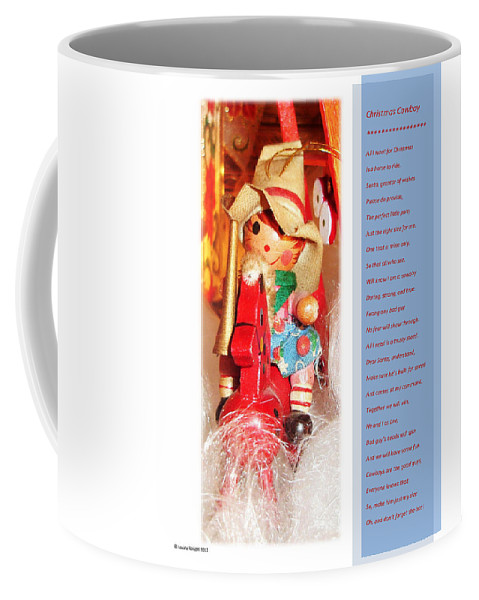 Christmas Coffee Mug featuring the mixed media Christmas Cowboy by Lovina Wright