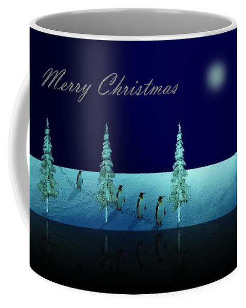 Penguin Coffee Mug featuring the digital art Christmas Eve Walk Of The Penguins by David Dehner