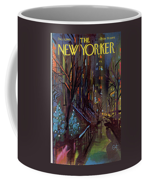 Christmas Coffee Mug featuring the painting Christmas In New York by Arthur Getz