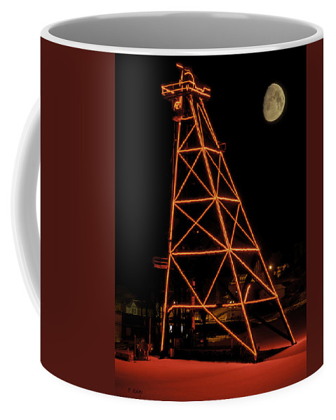 Butte Coffee Mug featuring the photograph Christmas Moon Over Butte Headframe by Fran Riley