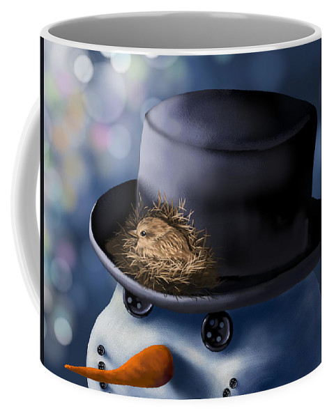 Snowman Coffee Mug featuring the painting Christmas Nest by Veronica Minozzi