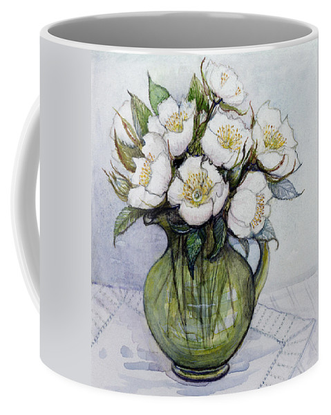 Christmas: Contemporary Coffee Mug featuring the painting Christmas Roses by Gillian Lawson