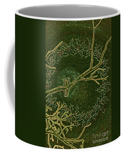 First Star Art Coffee Mug featuring the drawing Christmas Songbird by First Star Art