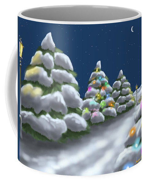 Ipad Coffee Mug featuring the painting Christmas Trees by Veronica Minozzi