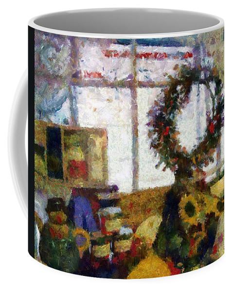 Christmas Coffee Mug featuring the painting Christmastime Folk Art Fantasia by RC DeWinter