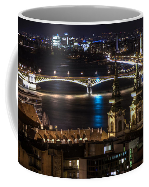 Travel Coffee Mug featuring the digital art Church And Bridge by Nathan Wright