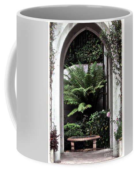 Courtyard.bench Coffee Mug featuring the photograph Church Courtyard by Kathleen Struckle