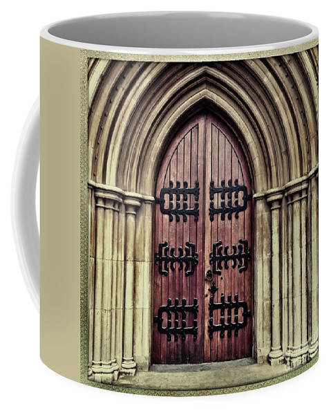 Square Coffee Mug featuring the photograph Church Door by Neil Overy