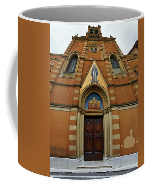 Francacorta Coffee Mug featuring the photograph Church Entrance. Palazzolo by Jouko Lehto