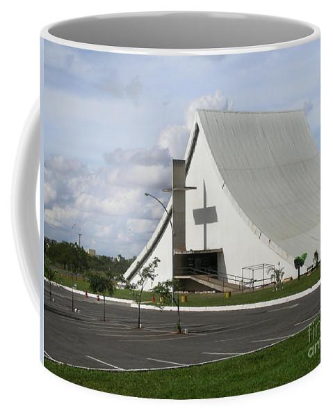 Brazil Coffee Mug featuring the digital art Church In Brazilia by Carol Ailles