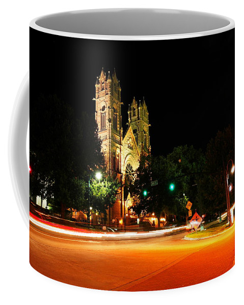 Churches Coffee Mug featuring the photograph Church In Downtown Salt Lake City Long Exposure  by Jeff Swan