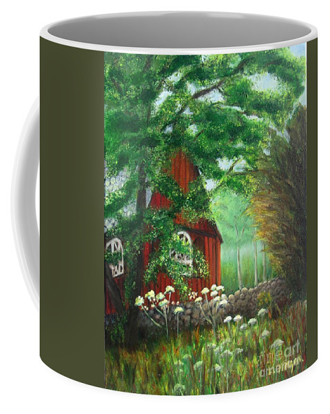 Church Coffee Mug featuring the painting Church In The Glen by Laurie Morgan