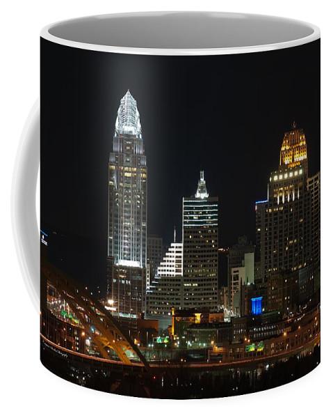 Landscape Coffee Mug featuring the photograph Cincinnati Skyline At Night by Constance Sanders