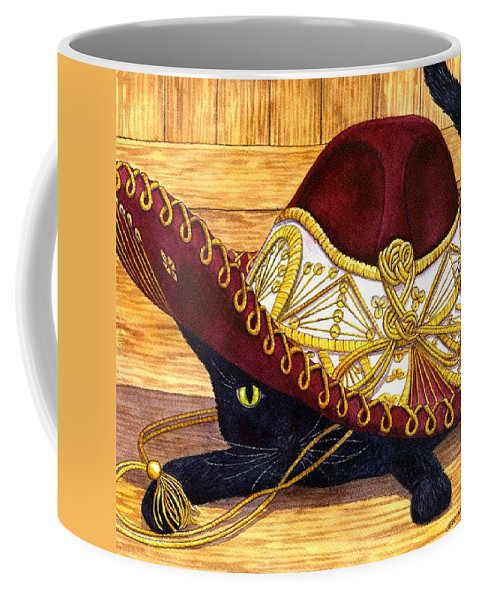 Cat Coffee Mug featuring the painting Cinco De Mayo by Catherine G McElroy