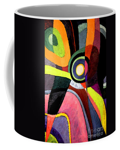 Abstract Coffee Mug featuring the painting Circle Abstract #4 by Karen Adams