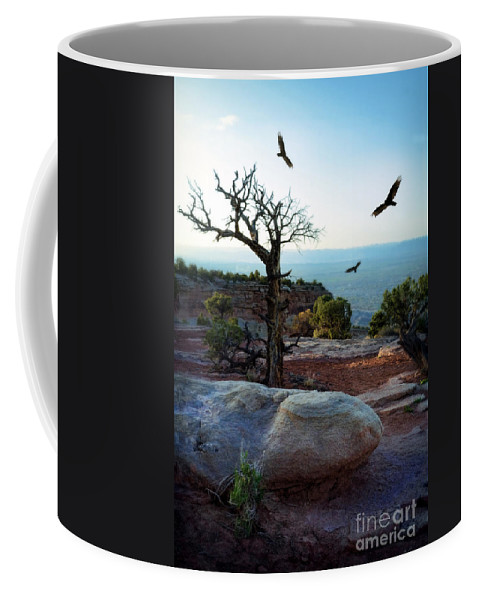 Tree Coffee Mug featuring the photograph Circling Vultures by Jill Battaglia