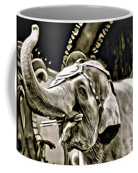 Elephant Circus Act Black White Coffee Mug featuring the photograph Circus Elephant by Alice Gipson