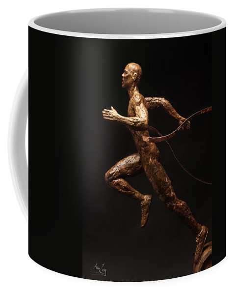 Olympic Coffee Mug featuring the sculpture Olympic Runner Citius Altius Fortius by Adam Long