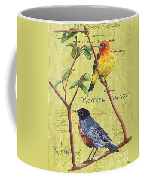 Bird Coffee Mug featuring the painting Citron Songbirds 2 by Debbie DeWitt