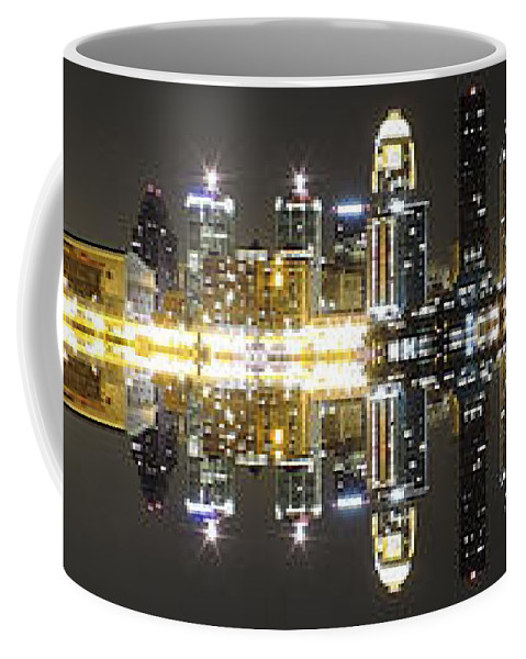 City Metropolitan Urban Cityscape Skyline Dark Neon Bright Lights Shine Population Louisville Kentucky Large Big Building Architecture Skyscrapers Office River Water Reflections Colors Black Downtown Panoramic Coffee Mug featuring the photograph City Approach Panoramic by Cityscape Photography