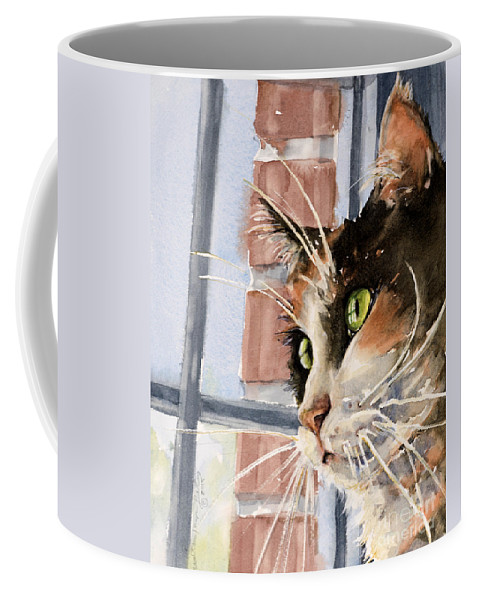 Cat Coffee Mug featuring the painting City Cat by Judith Levins
