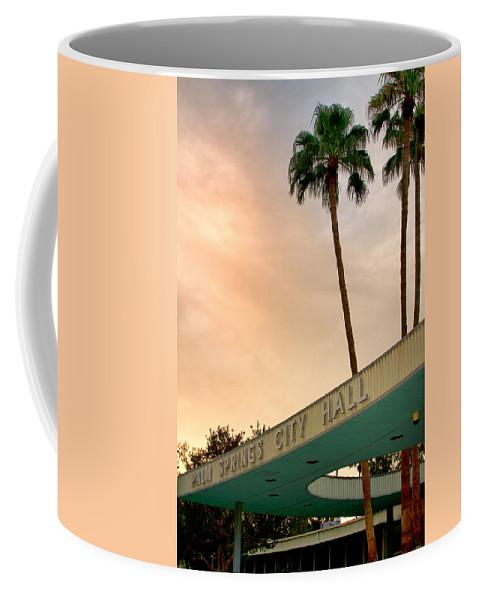 Palm Springs Coffee Mug featuring the photograph City Hall Sky Palm Springs City Hall by William Dey