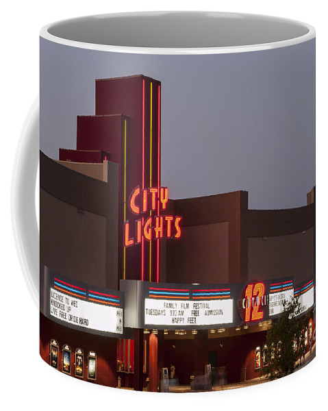 City Lights Movie Theater Georgetown Texas Movies Theaters Building Buildings Structure Structures Architecture Sign Signs Marquee Marquees Coffee Mug featuring the photograph City Lights Marquee by Bob Phillips