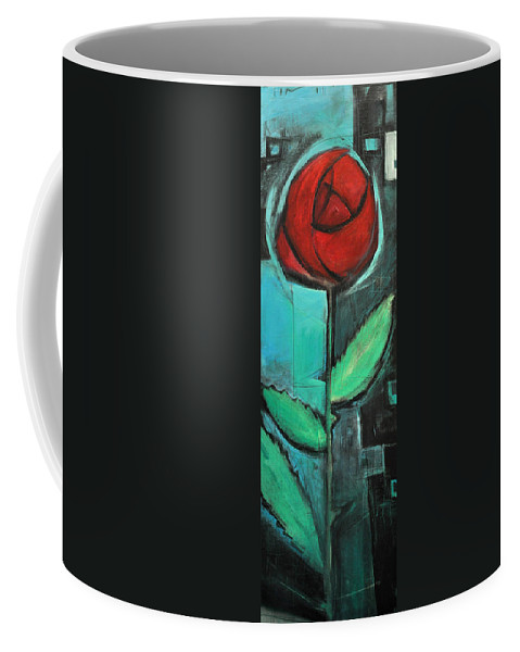 Rose Coffee Mug featuring the painting City Rose - Few Noticed by Tim Nyberg