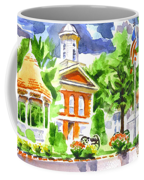 City Square In Watercolor Coffee Mug featuring the painting City Square In Watercolor by Kip DeVore