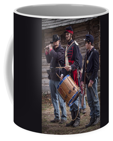 Civil War Coffee Mug featuring the photograph Civil War Reenactors With Drum And Fife by Randall Nyhof