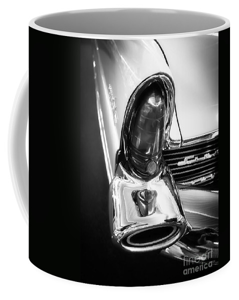Black Coffee Mug featuring the photograph Classic Car Tail Fin by Edward Fielding