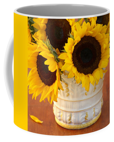 Sunflower Still-life Coffee Mug featuring the photograph Classic Sunflowers by Art Block Collections