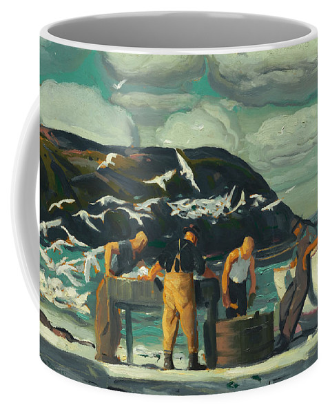 Cleaning Fish Coffee Mug featuring the painting Cleaning Fish by Mountain Dreams
