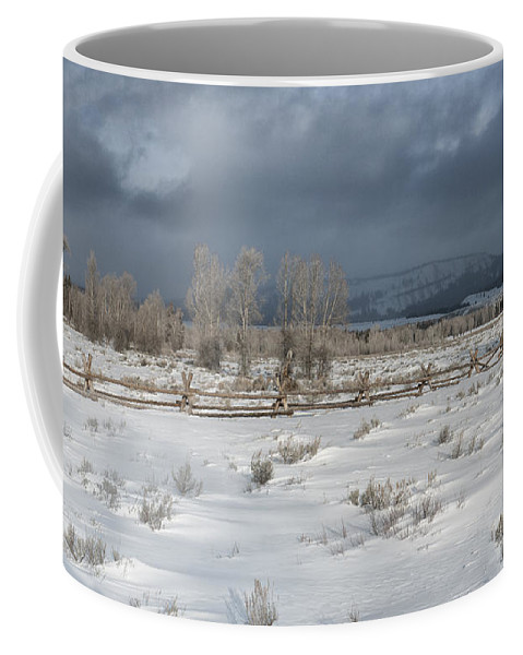 Grand Teton Coffee Mug featuring the photograph Clearing Storm In The Tetons by Sandra Bronstein