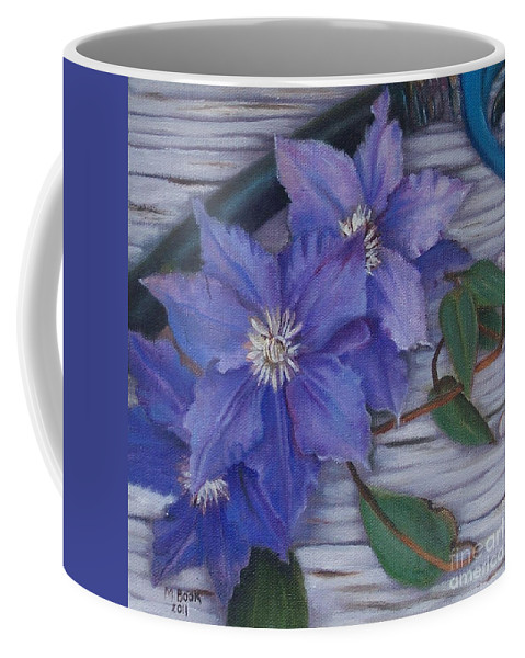 Still Life Coffee Mug featuring the painting Clematis by Marlene Book