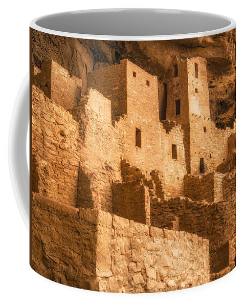Mesa Verde National Park Coffee Mug featuring the photograph Cliff Palace Townhomes by Greg Nyquist