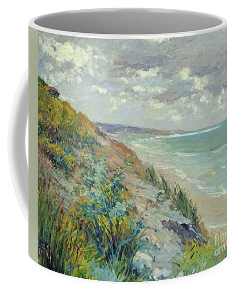 Beach Coffee Mug featuring the painting Cliffs By The Sea At Trouville by Gustave Caillebotte